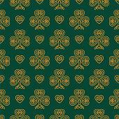 St. Patrick's day seamless pattern with Golden Shamrock. Patrick day symbol on the green background. - Illustration