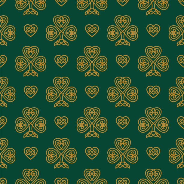 St. Patrick's day seamless pattern with Golden Shamrock. St. Patrick's day seamless pattern with Golden Shamrock. Patrick day symbol on the green background. - Illustration celtic style stock illustrations