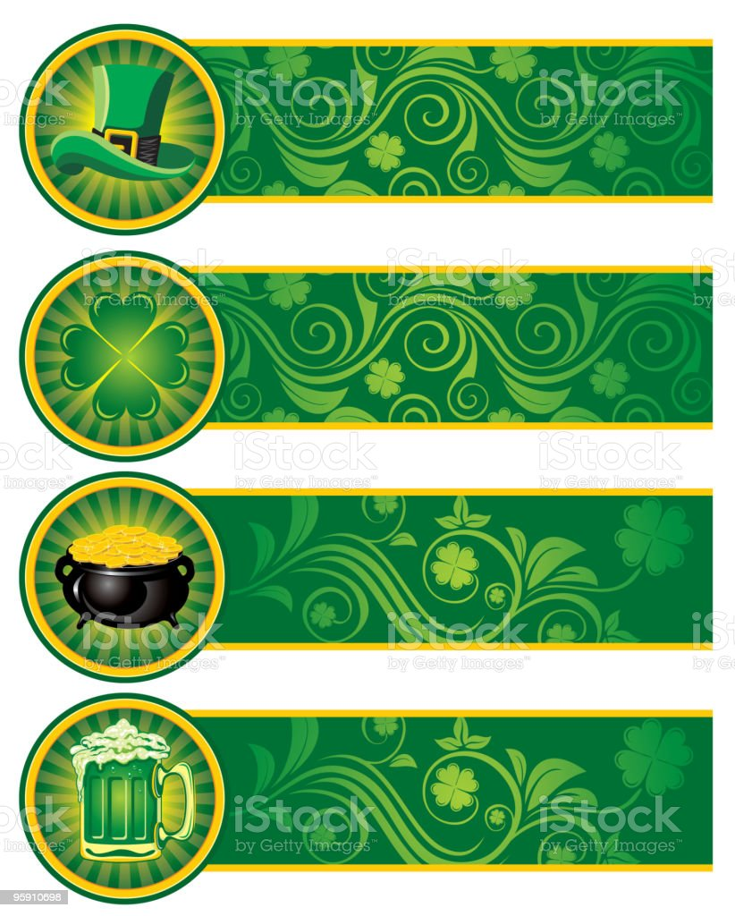 St. Patrick's Day, Set of banners. royalty-free stock vector art