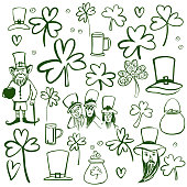 St Patrick's Day set. Sketch  illustration.
