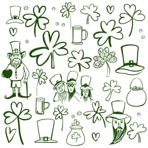 zestaw dnia świętego patryka. ilustracja szkicu. - four seasons stock illustrations