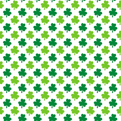 St. Patrick's day shamrock seamless pattern. Green white clover leaves background.  Saint Patricks backdrop. Vector template for fabric, textile, wallpaper, wrapping paper, etc