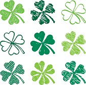 St. Patrick's day grunge decorative shamrock design elements. EPS 10 file. Transparency effects used on highlight elements.