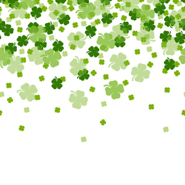 st. patrick's day shamrocks the 4 leaf clover lucky seamless background vector - four seasons stock illustrations