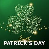 St Patrick's Day elements forming a shiny shamrock shape on green background