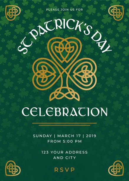 St. Patrick's Day Special Party Invitation Template St. Patrick's Day Special Party Invitation Template - Illustration celtic style stock illustrations