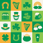 St Patrick's Day vector icons on a grid.