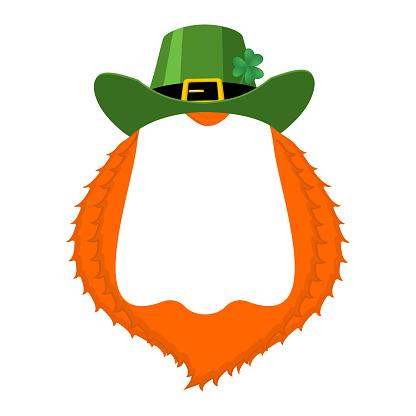 St Patricks day Template. Leprechaun blank banner. hat and beard. Holiday of Ireland. Traditional Irish holiday