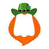 St Patricks day Template. Leprechaun blank banner. hat and beard. Holiday of Ireland. Traditional Irish holiday