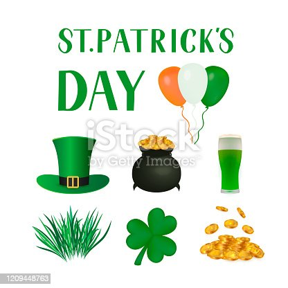 St. Patrick's day traditional symbols: Leprechaun's hat, leaf of shamrock, pot of treasure, gold coins, glass of beer. Vector elements for Saint Patricks day greeting card, banner, poster, flyer, etc.
