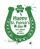 St. Patrick's Day Typography Poster With Horseshoe.