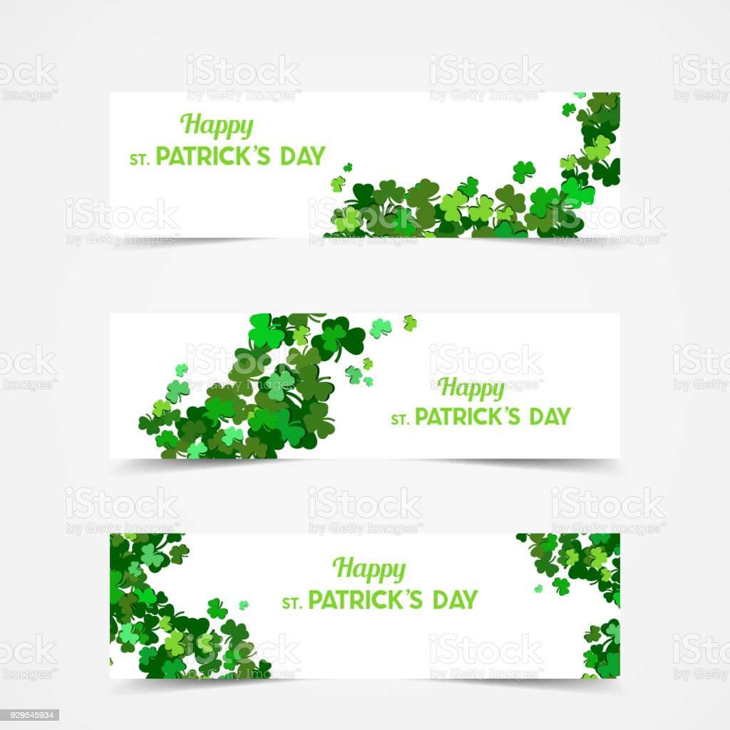 St Patrick Día Vector Banners Con Trébol Símbolo De La Primavera ...