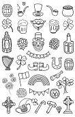 St. Patrick's Day Vector Doodles Set.