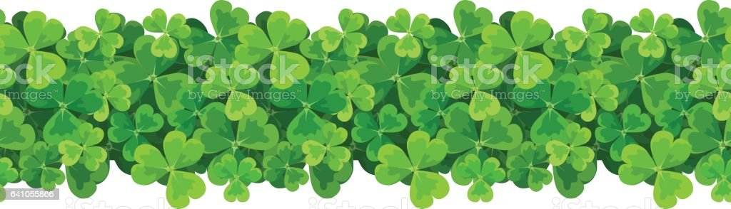 St. Patrick's day vector horizontal seamless background with shamrock. vector art illustration