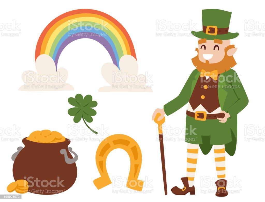 ilustração de st patricks day vetor ícones e duende desenho animado