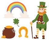 St. Patricks Day vector icons and leprechaun cartoon style symbols irish traditional decoration design vector illustration