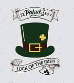 Vector illustration: Handwritten elegant modern brush lettering composition of Happy St. Patrick's Day with illustration of a green hat of a leprechaun and ribbons.