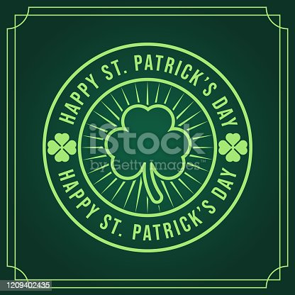 St. Patrick's Day Vector Illustration. Happy St. Patrick's Day vector flat design template for background, banner, poster, greeting card. Happy St. Patrick's Holiday celebration.