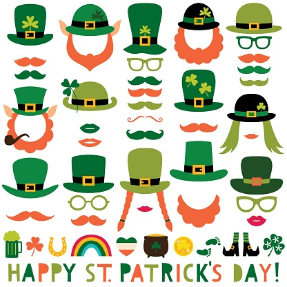 St. Patrick's Day vector party props (hats, lips, mustaches)