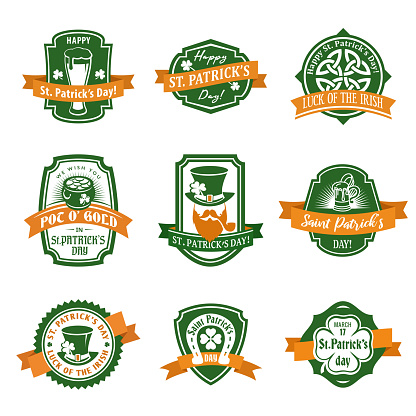 St. Patrick's flat vector label set