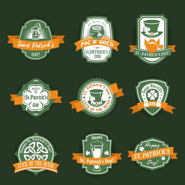 St. Patrick's flat vector label set Saint Patricks flat vector logo design elements template set irish culture stock illustrations