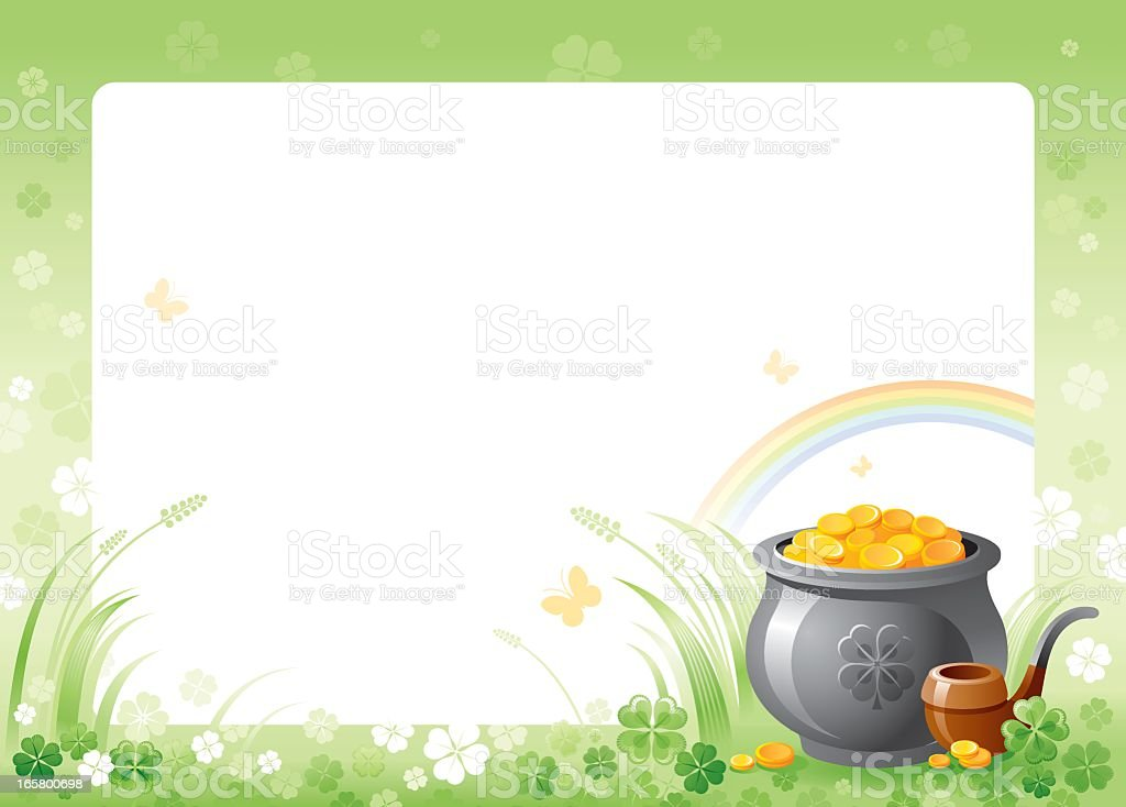 St. Patrick's frame with pot of gold royalty-free stock vector art
