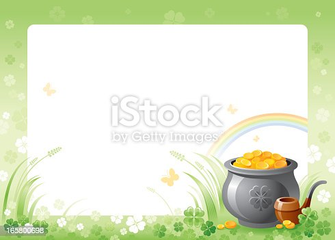 istock St. Patrick's frame with pot of gold 165800698