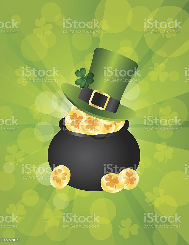 St Patricks Leprechaun Hat on Pot of Gold Background Illustration royalty-free st patricks leprechaun hat on pot of gold background illustration stock vector art & more images of birthday