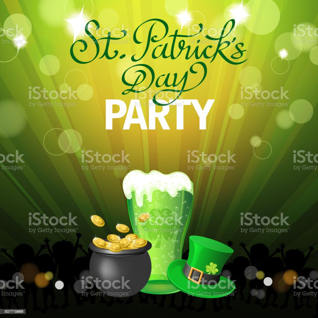 St patrick's party poster vector art illustration