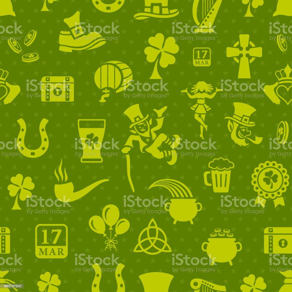 St. Patricks Seamless Pattern vector art illustration