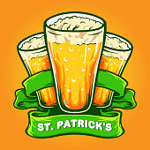 St Patrick`s Three Glasses Beer With Ribbon illustrations for your work Logo, mascot merchandise t-shirt, stickers and Label designs, poster, greeting cards advertising business company or brands.