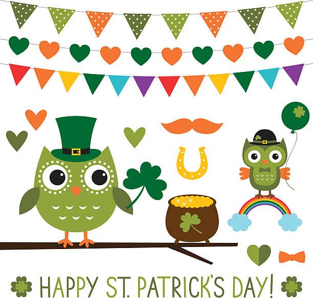 St. Patricks-Tag Vektor-Eulen Satz – Vektorgrafik