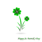 Vector St. Patric's Day Four Leaf Shamrock Card