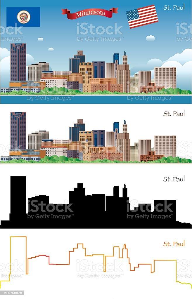 St Paul Skyline vector art illustration
