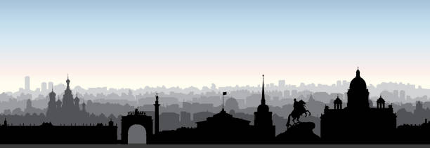 St. Petersburg city skyline, Russia. Tourist landmark silhouette. Russian famous place in Saint-Petersburg panoramic view vector art illustration