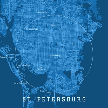 St Petersburg FL City Vector Road Map Blue Text