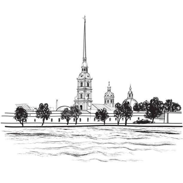 stockillustraties, clipart, cartoons en iconen met st. petersburg landmark, russia. - neva
