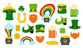 St. Saint Patricks Day icon photo booth props set.