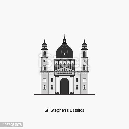 St. Stephen's Basilica in Budapest, Hungary. It is one of the most visited attractions in Budapest. Famous landmark located in Pest,on St. Stephen's Square. Vector art illustration flat design.
