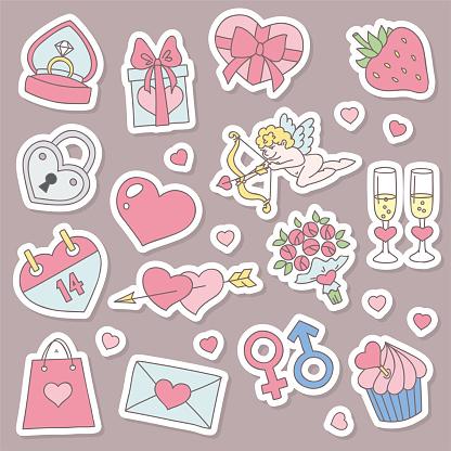 St. Valentine day stickers