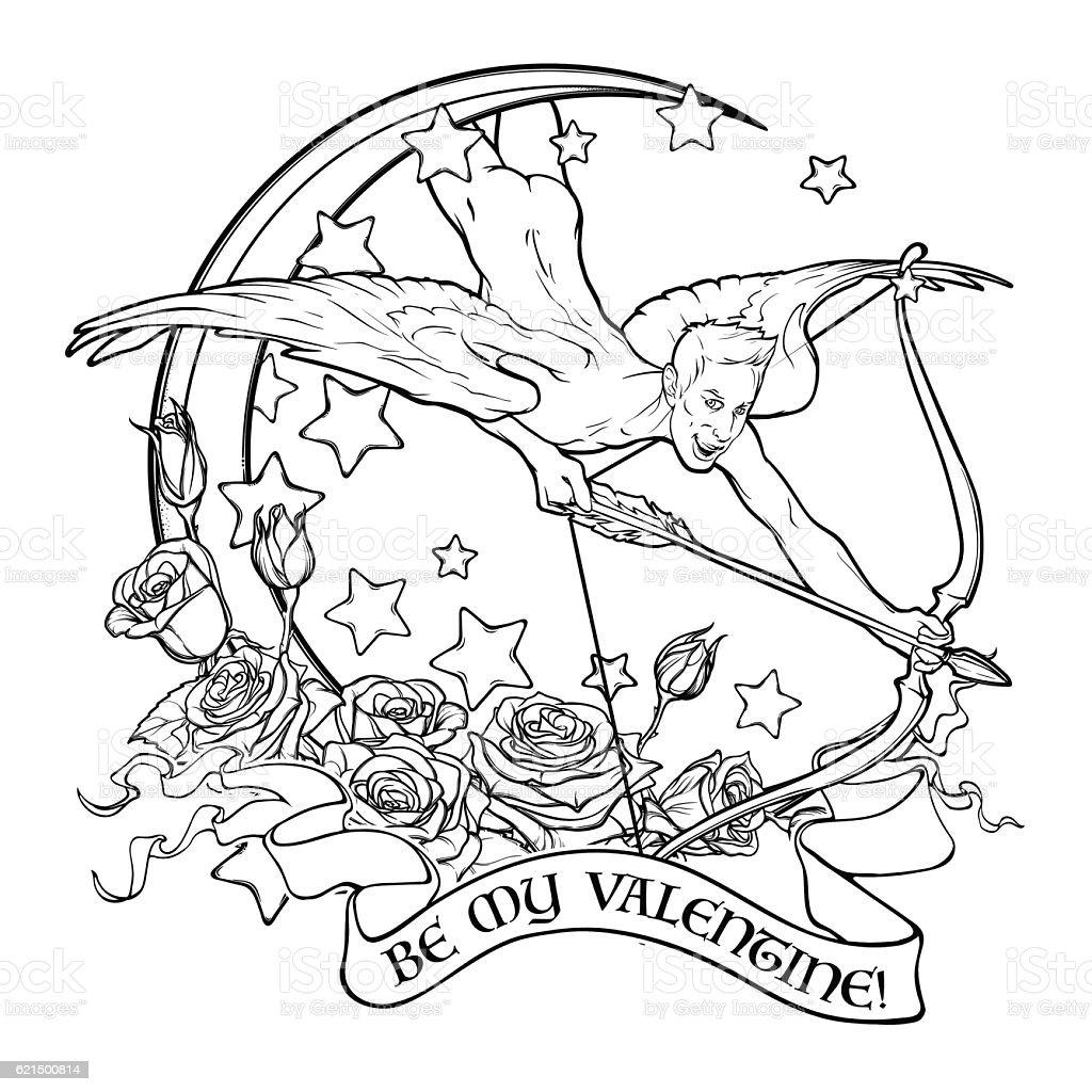 St. Valentine's cupid flying st valentines cupid flying – cliparts vectoriels et plus d'images de adulte libre de droits
