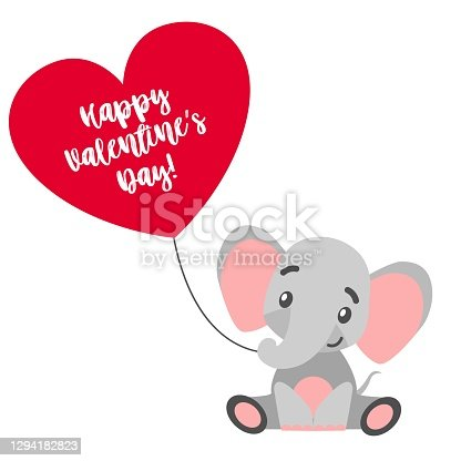 St Valentine's Day. Baby elephant sitting with red heart balloon. Gray and pink. Cartoon style. Funny and cute. African animal. Love and romance. Template for post cards, posters, stickers