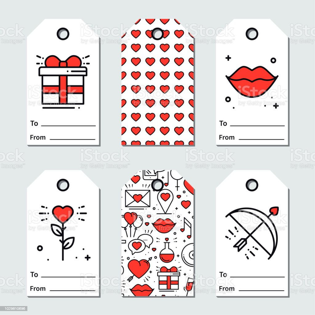 St Valentines Day Gift Tags Printable Tags Collection Love Romantic