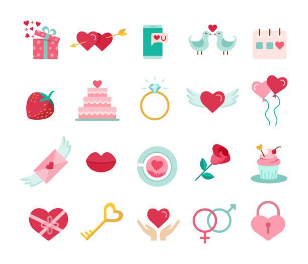 St. Valentin-Tag-Symbole. – Vektorgrafik