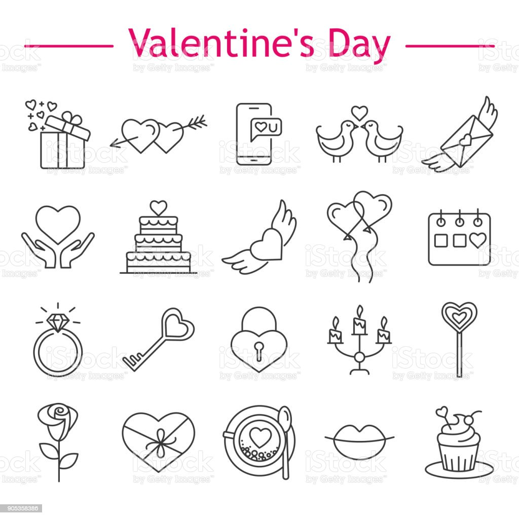St. Valentine's Day icons. vector art illustration