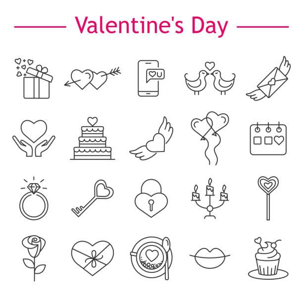 St. Valentine's Day icons. vector art illustration