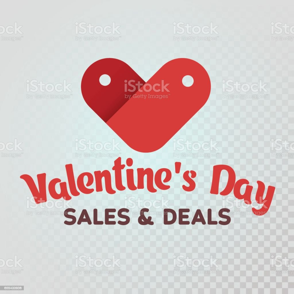 St. Valentine's Day. Sale and deals. Red label sale shaped heart on a white background. Logo for the advertising banner and promotions. vector art illustration