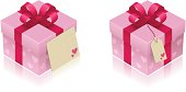 Pink St. Valentine's Gift Boxes with a tag and a greeting card