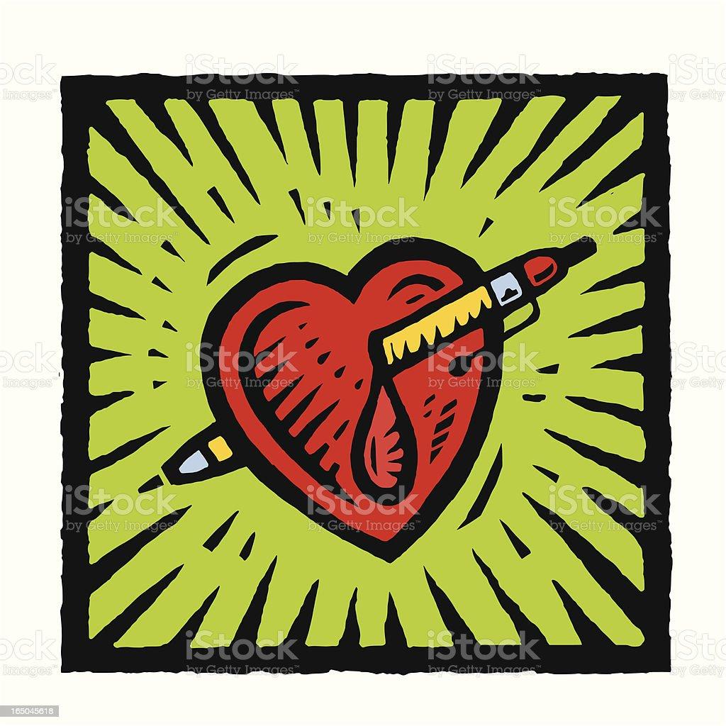 Stabbed Heart vector art illustration