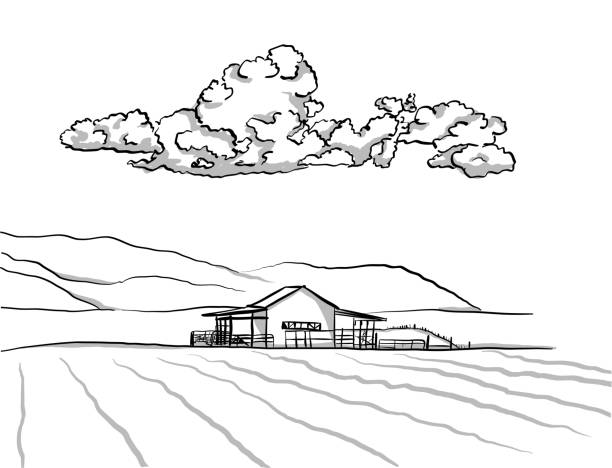 stable - clip art of a black and white barn stock illustrations, clip art, cartoons, & icons